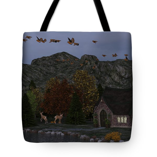 Country Church Autumn At Twilight Tote Bag by Methune Hively