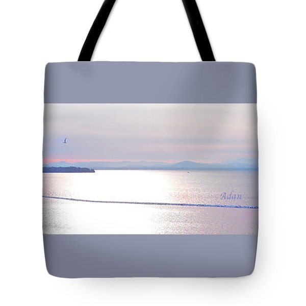 Lake Champlain South From Atop Battery Park Wall Panorama Tote Bag by Felipe Adan Lerma
