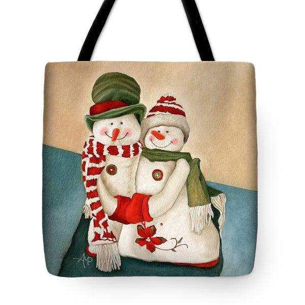 Mr. And Mrs. Snowman Vintage Tote Bag