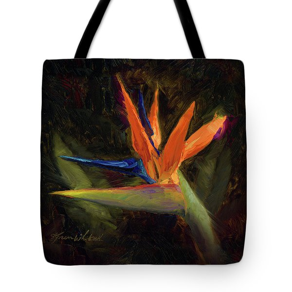 Tote Bag featuring the painting Extravagance - Tropical Bird Of Paradise Flower by Karen Whitworth