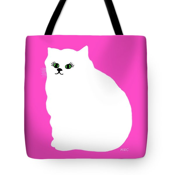 Cartoon Plump White Cat On Pink Tote Bag by Marian Cates