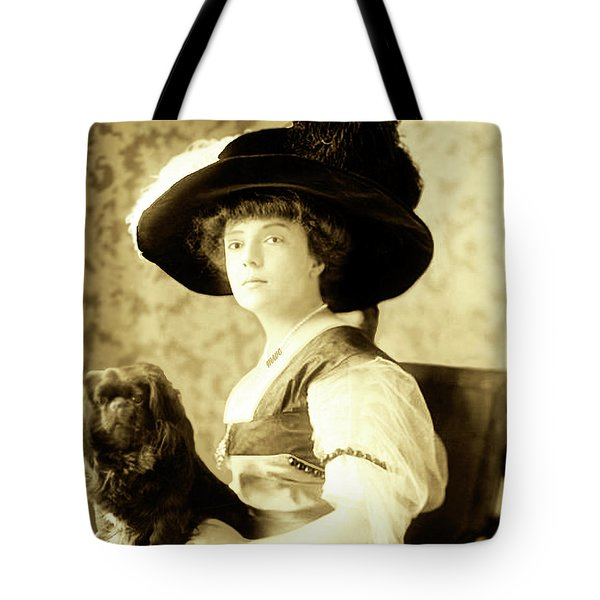 Vintage Lady With Lapdog Tote Bag