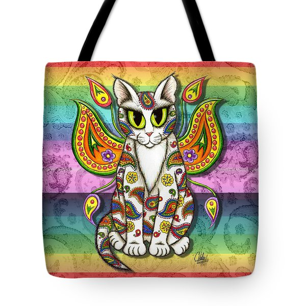 Rainbow Paisley Fairy Cat Tote Bag