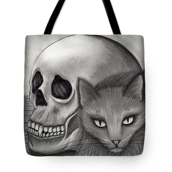 Tote Bag featuring the drawing Witch's Cat Eyes by Carrie Hawks