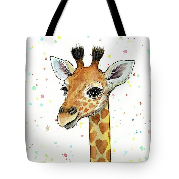 Baby Giraffe Watercolor With Heart Shaped Spots Tote Bag by Olga Shvartsur