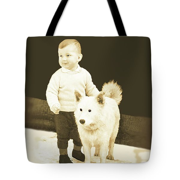 Sweet Vintage Toddler With His White Mutt Tote Bag by Marian Cates