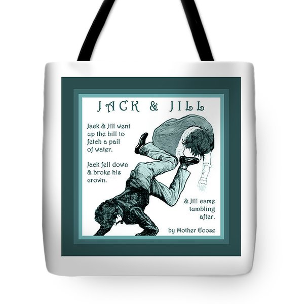Jack And Jill Vintage Mother Goose Nursery Rhyme Tote Bag by Marian Cates