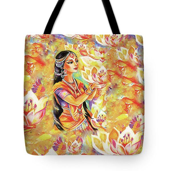 Pray Of The Lotus River Tote Bag by Eva Campbell