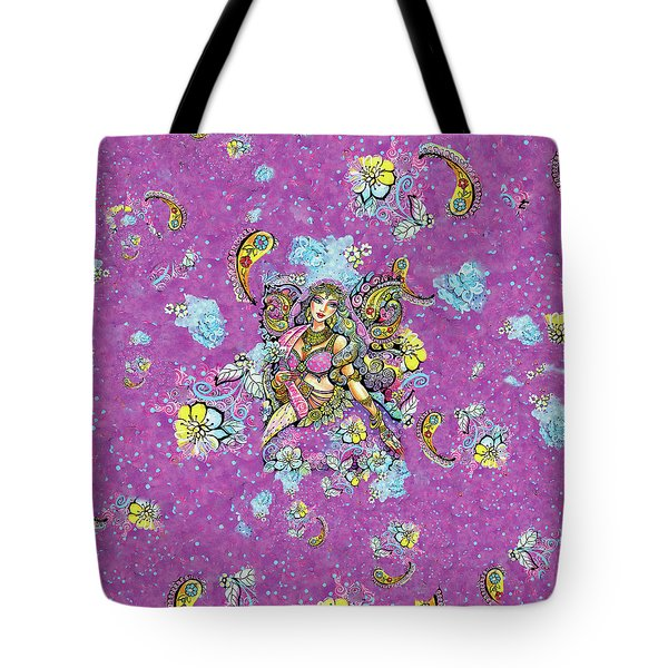 Purple Paisley Flower  Tote Bag