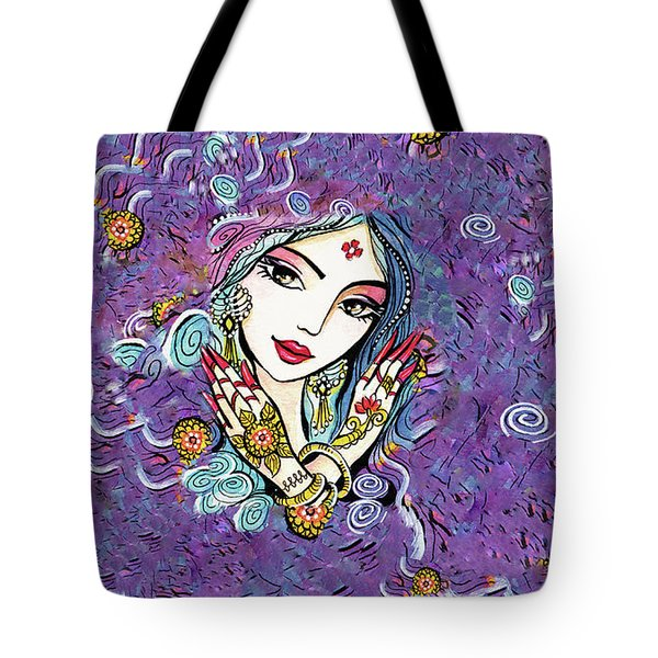 Tote Bag featuring the painting Hands Of India by Eva Campbell