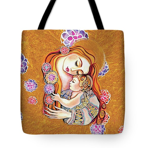 Tote Bag featuring the painting Little Angel Sleeping by Eva Campbell