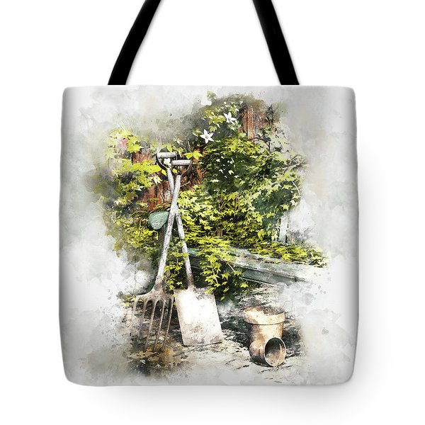 Tote Bag featuring the digital art Garden Seat by Shanina Conway
