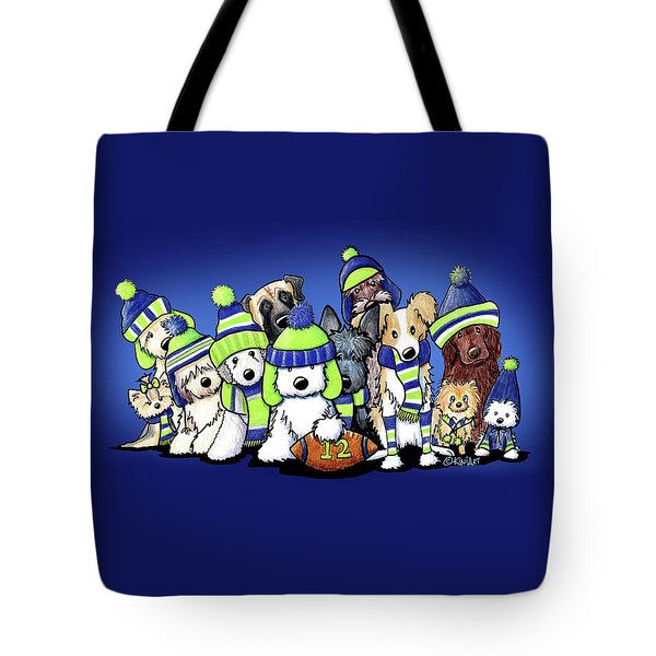 12 Dogs On Blue Tote Bag by Kim Niles