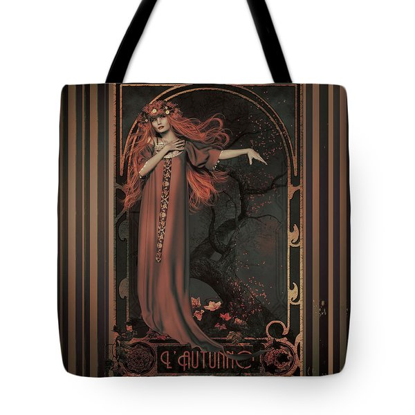 Tote Bag featuring the digital art Autumn Art Nouveau  by Shanina Conway