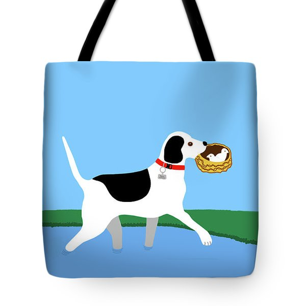 Cartoon Hero Hound Rescues Two Baby Birds Tote Bag