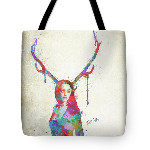 Tote Bag featuring the digital art Song Of Elen Of The Ways Antlered Goddess by Nikki Marie Smith