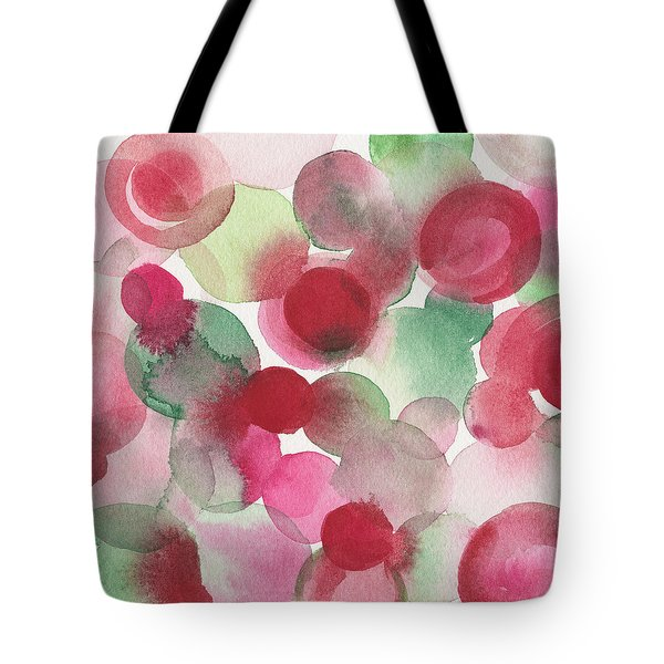 Red Pink Green Abstract Watercolor Tote Bag
