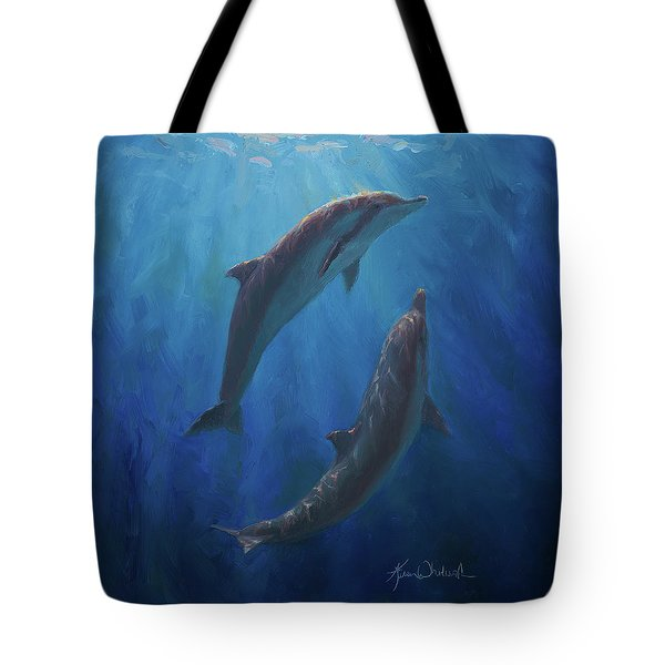 Tote Bag featuring the painting Dolphin Dance - Underwater Whales by Karen Whitworth