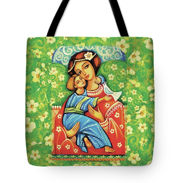 Tote Bag featuring the painting Madonna And Child by Eva Campbell