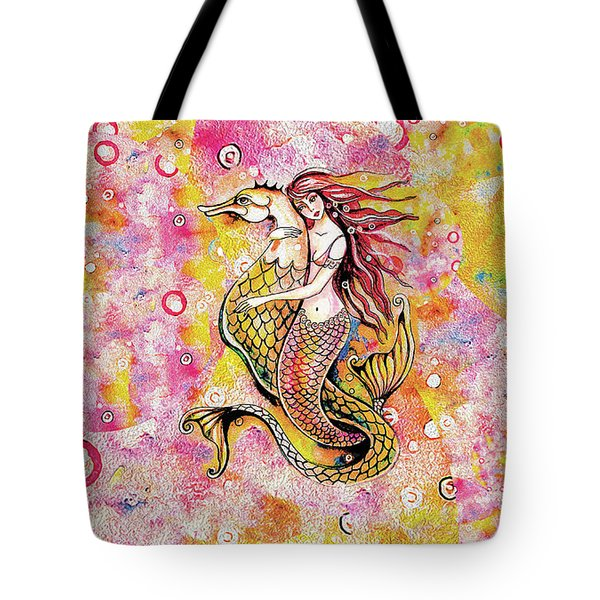 Black Sea Mermaid Tote Bag by Eva Campbell