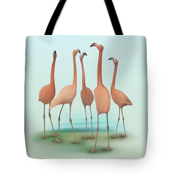 Tote Bag featuring the painting Flamingo Mingle by Ivana Westin