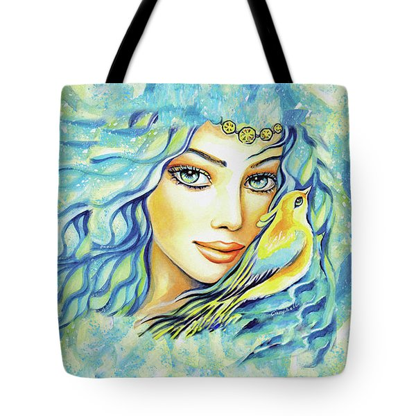 Tote Bag featuring the painting Bird Of Secrets by Eva Campbell