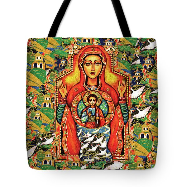 Tote Bag featuring the painting Our Lady Of The Sign by Eva Campbell