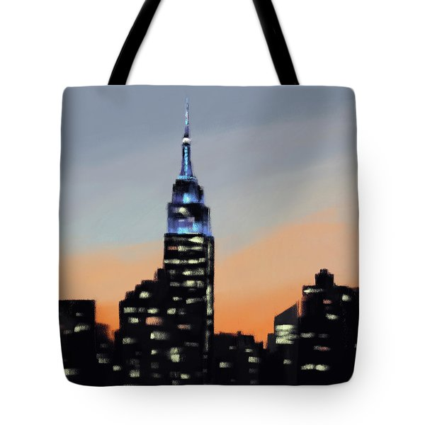 Empire State Building Ombre New York Skyline Tote Bag