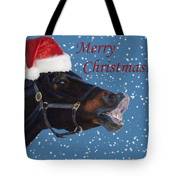 Snowy Horse Jumping Christmas Tote Bag