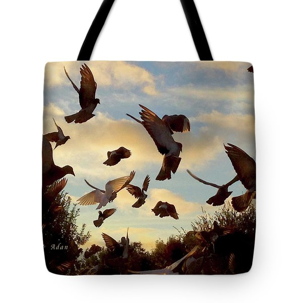 Birds And Fun At Butler Park Austin - Birds 1 Tote Bag by Felipe Adan Lerma