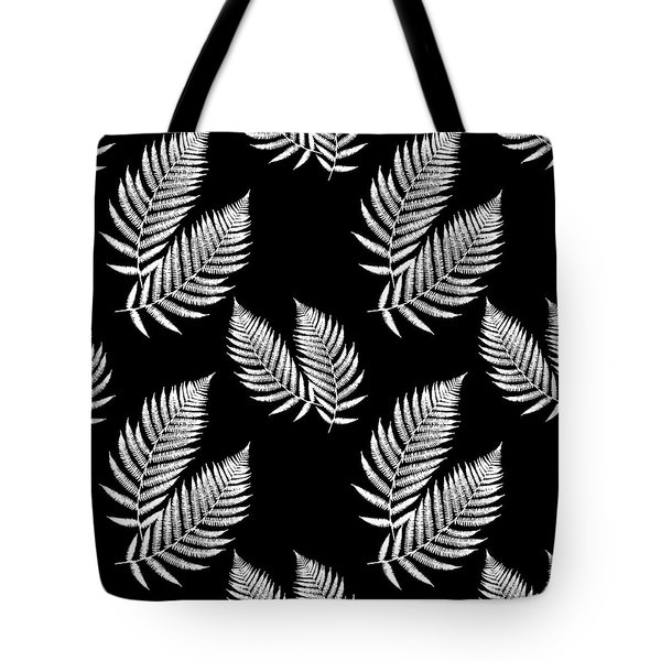 Tote Bag featuring the mixed media Fern Pattern Black And White by Christina Rollo