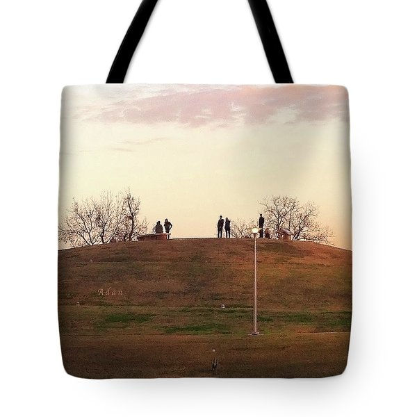 Birds And Fun At Butler Park Austin - Silhouettes 1 Macro Tote Bag