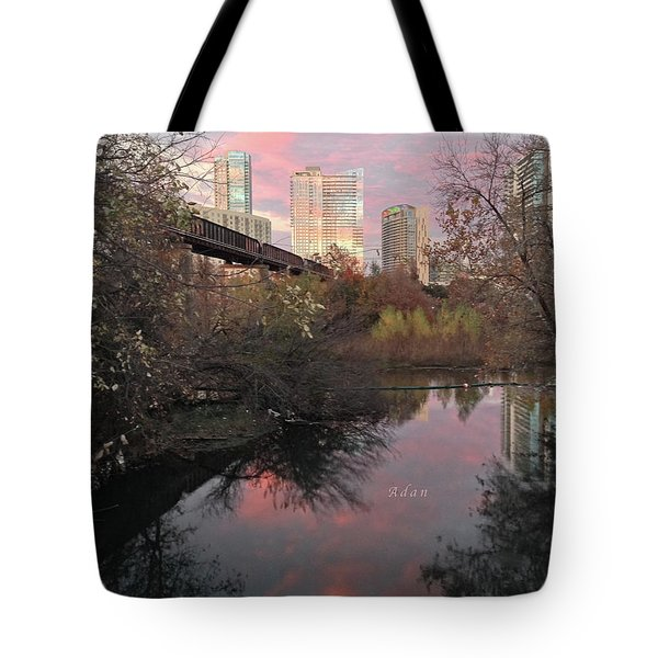 Austin Hike And Bike Trail - Train Trestle 1 Sunset Triptych Right Tote Bag by Felipe Adan Lerma