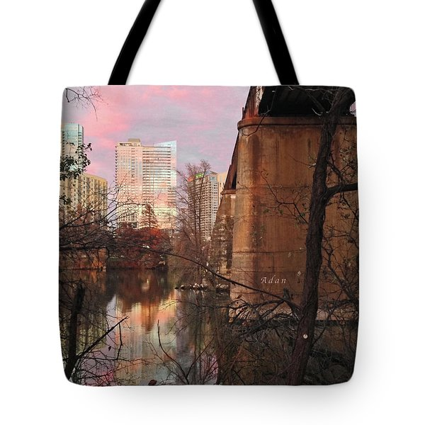 Austin Hike And Bike Trail - Train Trestle 1 Sunset Triptych Middle Tote Bag