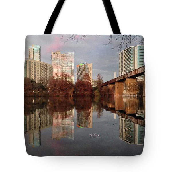 Austin Hike And Bike Trail - Train Trestle 1 Sunset Triptych Left Tote Bag by Felipe Adan Lerma
