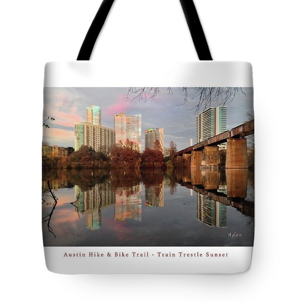 Austin Hike And Bike Trail - Train Trestle 1 Sunset Left Greeting Card Poster - Over Lady Bird Lake Tote Bag