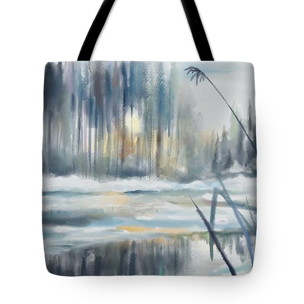 Tote Bag featuring the digital art Snow From Yesterday by Ivana Westin