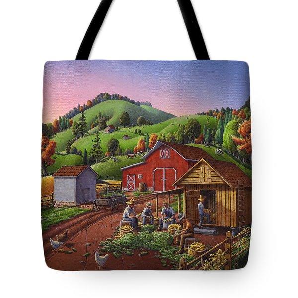 Folk Art Americana - Farmers Shucking Harvesting Corn Farm Landscape - Autumn Rural Country Harvest  Tote Bag by Walt Curlee