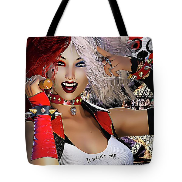 Tote Bag featuring the digital art It Wasn't Me by Shanina Conway