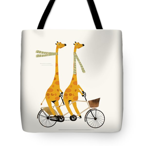 Tote Bag featuring the painting Lets Tandem Giraffes by Bri B