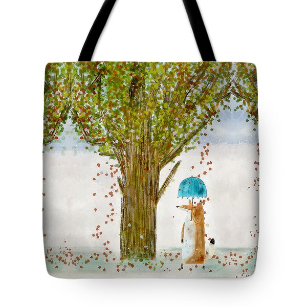 Tote Bag featuring the painting An Autumns Day by Bri B