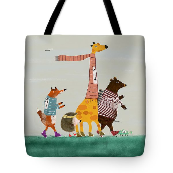 Tote Bag featuring the painting The Fun Run by Bri B