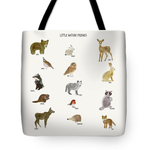 Tote Bag featuring the painting Little Nature Friends by Bri B