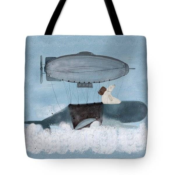 Tote Bag featuring the painting Barney And The Whale by Bri B