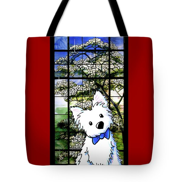 Westie At Dogwood Window Tote Bag
