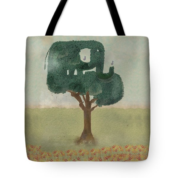 Tote Bag featuring the painting The Elephant Tree by Bri B