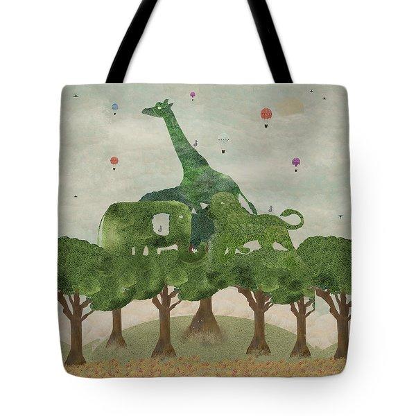 Tote Bag featuring the painting Safari Wood by Bri B