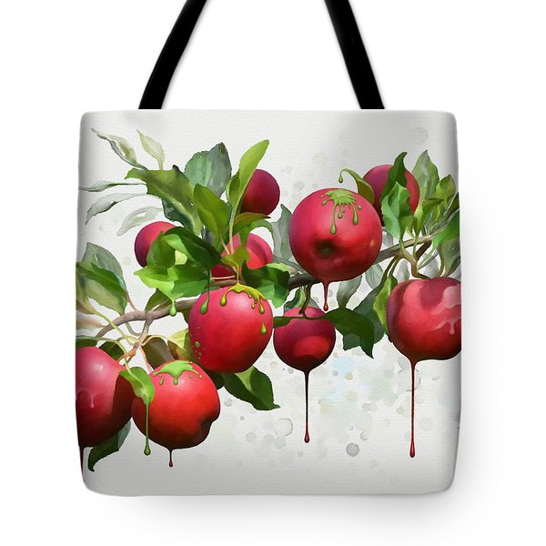 Tote Bag featuring the digital art Melting Apples by Ivana Westin