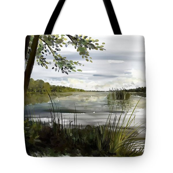 Tote Bag featuring the painting Quiet Day By Lake by Ivana Westin