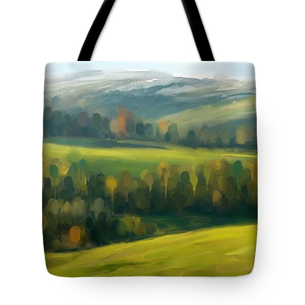 Tote Bag featuring the painting Rich Landscape by Ivana Westin